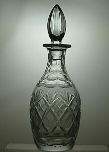 "ROYAL DOULTON CRYSTAL ""GEORGIAN"" CUT ROUND WINE DECANTER WITH STOPPER"