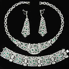 KTF Trifari Pave Emerald Cabochons Flower Circles Necklace Bracelet Earrings Set