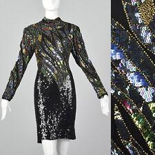 Small Judith Ann 1970s Sequin Dress Vintage Beaded 70s Disco Cocktail Dress Vtg