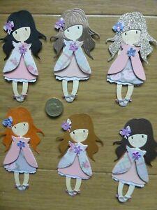 6 very sweet assorted little girl handmade card toppers, birthday mum Grandma #2