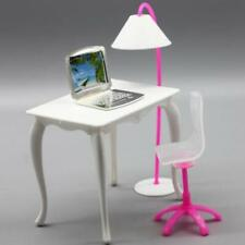 Doll Furniture Desk Lamp Laptop Chair Accessories For Barbie Role Play House