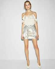 NWT Express Sequin Art Deco Mini Skirt in Silver/Cream/Champagne • Small