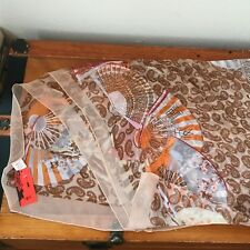 Estate Tonshi Tan with Brown Paisley's White CRANES Red Fans 100% Silk Women's
