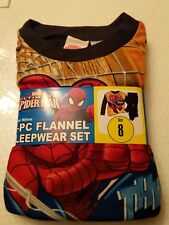 New Boys SPIDERMAN 2 piece Soft Flannel Pajamas Sleepwear Set Size 8 Thwap