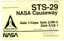 STS-29 NASA Causeway Gate 1 Kennedy Space Center Permit Pass