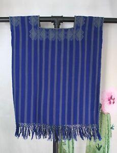 XS Striped Huipil Tunic Handwoven Backstrap Loom Mayan Larrainzar Chiapas Mexico
