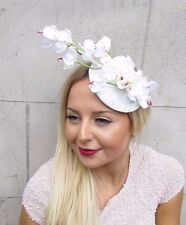 Ivory White Orchid Flower Fascinator Statement Headpiece Races Hair Clip 2576
