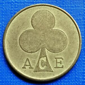 British Ace Token 1960's Ace Cafe Bikers Momento~Brass 3g 20mm dia~VF~#954