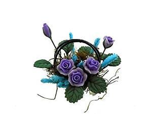 Bambole Casa Viola Fiori Floreale Composizione IN Cestino Accessorio Miniatura