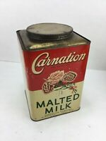 VINTAGE LARGE 10 LB CAN CARNATION MALTED MILK TIN RESTAURANT SODA FOUNTAIN SIZE