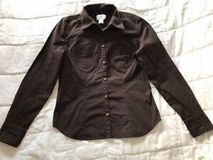 Womens Ann Taylor Stretch Brown Shirt Top Size 8
