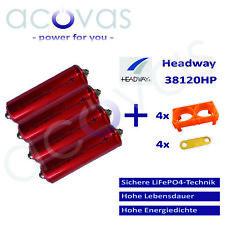 4x Headway 38120 HP LFP/LiFePo4 8Ah 25C 3,2V Akku Zellen Bausatz 12V 4S1P