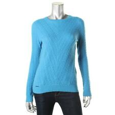 Sutton Cashmere 4927 Womens Blue Cashmere Cable Knit Pullover Sweater S BHFO