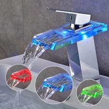 Glas LED Wasserhahn Wasserfall Waschtischarmatur Einhandmischer Badarmatur Chrom