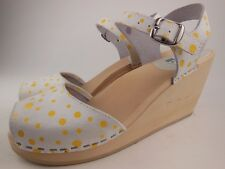 MAGUBA Of Sweden Bologna White Yellow Polka Dot Leather Wedge Clog Sandals Sz 38
