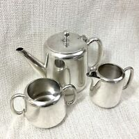 Vintage Art Deco Silver Plated Tea Set Teapot Jug Bowl Plain Simple Maple & Co