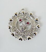 Vintage WELLS Sterling Silver HAPPY ANNIVERSARY Red Crystals Charm Pendant