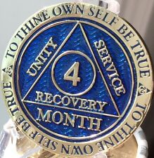 4 Month AA Medallion Reflex Blue Gold Plated Sobriety Chip Coin