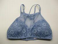 new XHILARATION Bra Women's Size XS Halter Blue Lace High Neck Bralette