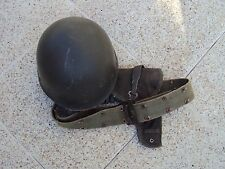 Old French army helmet liner- belt and mac50 gun holster