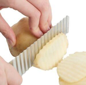 Stainless Steel Potato Chip Slicer Dough Vegetable Fruit Crinkle Wavy Knife