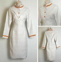 White Orange Stripe Long Sleeve High Neck 70's inspired Pencil Dress size 10 D5