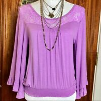 NWT About A Girl Smocked Bell Sleeve Boho Lace Stretch Crop Top - Medium - NEW!