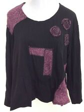 SARAH SANTOS Artsy Tunic Art To Wear Made In Italy - XL Black Top Blouse NEW