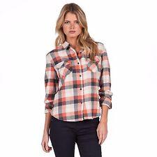 2016 NWT WOMENS VOLCOM LIFE LODGE FLANNEL LS $49 S ginger orange grey cotton