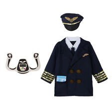 3pcs/Set Kids Pilot Airline Suit Costumes Outfit Halloween Cosplay Educate