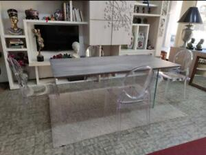Table Solid Wood Oak with Knots, with Base Glass, Various Sizes