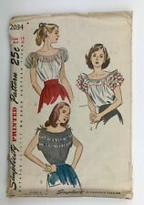 """1940' Sewing Pattern Simplicity 2034 Misses Gathered Blouse Bust 32 """"circa 1947"""