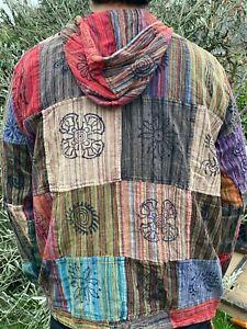 Patchwork Hippy vintage hoodie HANDMADE Nepal festival unisex   stripe mix dark