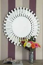 Modern Unique 3D Sunburst, Glass Venetian Round Wall Mirror - 3-Feet