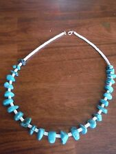 Native American Santo Domingo TURQUOISE and WHITE HEISHI SHELL Necklace