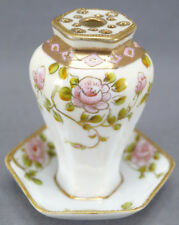 Nippon Morimura Hand Painted Pink Rose & Moriage Gilt Hat Pin Holder C 1911 - 21