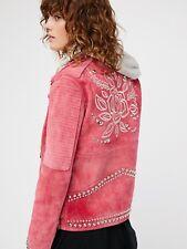 Free People Understated Pink Sweet Paradise Leather Jacket -$750 - NEW Medium