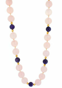 14K Yellow Gold Spacers and Clasp Rose Quartz Purples Amethyst Bead Necklace 32""