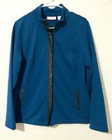 Weekends by Chico's womens long sleeve jacket, faux leather zip up, size 2