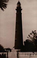 Ponce de Leon Inlet Lighthouse Florida 1933, Stylish FL Light, Fence -- Postcard