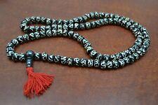 108 PCS BROWN SWIRL CARVED TIBETAN BUDDHIST BONE MALA PRAYER BEADS 8MM #T-774