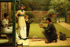 Oil painting George Dunlop Leslie - The Goldfish Seller with young girls boy