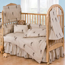 BROWNING BUCKMARK TAN & BROWN BABY CRIB BEDDING SHEET & PILLOW CASE