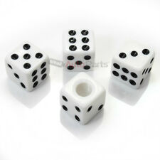(4) White Dice Tire/Wheel Stem Air Valve CAPS covers set car truck hot rod ATV