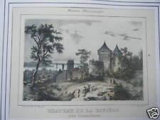 LITHOGRAPHIE 19ème  CHATEAU DE LA RIVIERE PRES FRONSAC