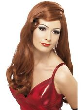 Pantalla de plata 422 Sirena Hollywood Glamour largo Rojo Peluca Jessica Rabbit Fancy Dress