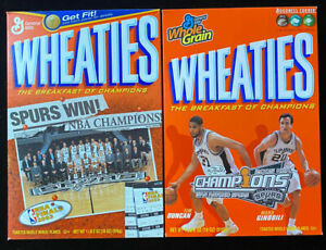 San Antonio SPURS 2003 & 2005 Championship Wheaties Cereal Boxes 18oz Champions