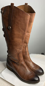 Arturo Chiang Knee High Brown Grommets Leather Heeled Riding Boots Size 8 M 38