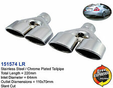 Exhaust tips Quad tailpipe trims Dual Set 110x70mm for Mercedes Benz AMG Style