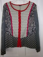 NEW NWOT KAKTUS WOMENS SIZE XLTOP BLOUSE MULTI PRINT GRAY RED TAN BLACK UNIQUE